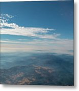 Aerial View Of Mountain Formation With Low Clouds During Daytime Metal Print