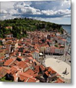 Aerial View Of Piran Slovenia On The Adriatic Sea Coast With Har Metal Print