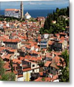 Aerial View Of Piran Slovenia With St George's Cathedral On The  Metal Print