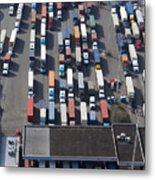 Aerial View Of Semi Trucks At Port Metal Print by Don Mason