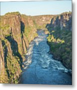 Aerial View Of Sunlit Rapids In Canyon Metal Print