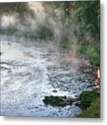 Aerial View Of The Dawn Over The River In The Fog Metal Print