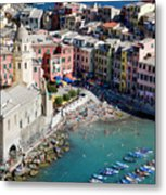 Aerial View Of Vernazza, Cinque Terre, Liguria, Italy Metal Print