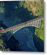 Aerial View Of Victoria Falls Suspension Bridge Metal Print