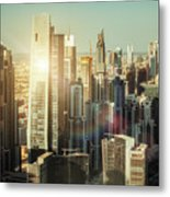 Aerial View Over Dubai's Towers At Sunset.  Metal Print