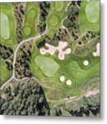 Aerial View Over Golf Field In Poland. Summer Time. Metal Print