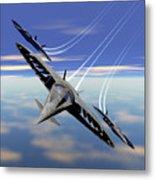Aerobatics Over Water Metal Print