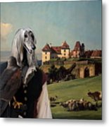 Afghan Hound-falconer And Castle Canvas Fine Art Print Metal Print
