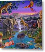 African Animals At The Water Hole Metal Print by Anne Wertheim