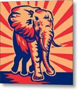 African Bull Elephant Charging Retro Metal Print by Aloysius Patrimonio