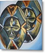 African Double Mask Metal Print