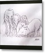 African Elephant Family Metal Print
