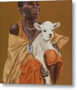 African Girl With Lamb Metal Print