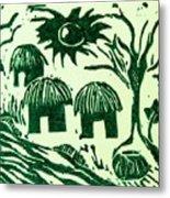 African Huts Metal Print