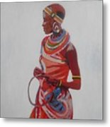 African Lady In Red Metal Print