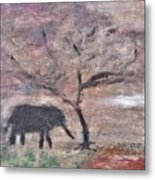African Landscape Baby Elephant And Banya Tree At Watering Hole With Mountain And Sunset Grasses Shr Metal Print