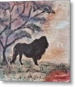 African Landscape Lion And Banya Tree At Watering Hole With Mountain And Sunset Grasses Shrubs Safar Metal Print
