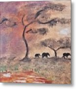 African Landscape Three Elephants And Banya Tree At Watering Hole With Mountain And Sunset Grasses S Metal Print