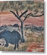 African Landscape With Elephant And Banya Tree At Watering Hole With Mountain And Sunset Grasses Shr Metal Print