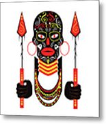 African Motive Background With Ornament Details And Spears  Metal Print