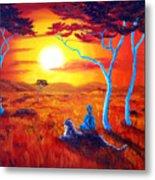 African Sunset Meditation Metal Print