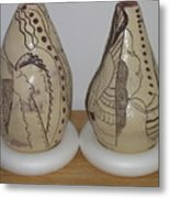 African Terracotta Gourds - View Three Metal Print