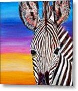 African Zebra Aura Metal Print