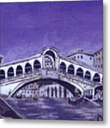 After Canal Grande With The Rialto Bridge Metal Print