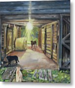 After Hours In Pa's Barn - Barn Lights - Labs Metal Print