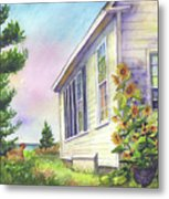 After School Activities At Monhegan School House Metal Print