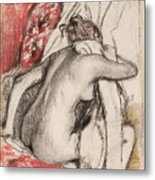 After The Bath Seated Woman Drying Herself Metal Print