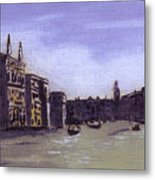 After The Grand Canal From Campo San Vio Near The Rialto Bridge Metal Print