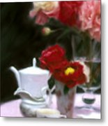 Afternnon Tea With Peonies Metal Print