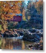 Afternoon Autumn Sun On Vermont Covered Bridge Metal Print