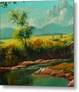 Afternoon By The River With Peaceful Landscape L B Metal Print