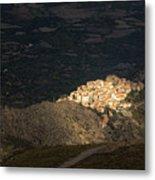 Afternoon Sun Lighting Up Village Of Speloncato In Corsica Metal Print