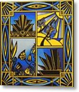 Art Deco In Blue Metal Print