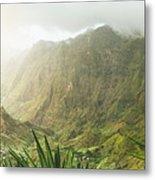 Agave Plants And Rocky Mountains. Santo Antao. Metal Print