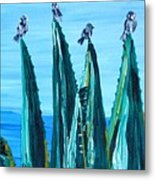 Agave With Sparrows Metal Print
