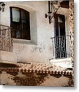 Aged Stucco Building Balcony With Terracotta Roof Metal Print