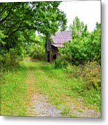 Aging Barn In Woods Metal Print