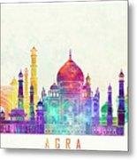 Agra Landmarks Watercolor Poster Metal Print