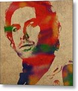 Aidan Turner As Poldark Watercolor Portrait Metal Print