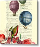 Hot Air Balloons Above Flower Field Metal Print