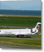 Air Canada Express Crj Taxis Into The Terminal Metal Print