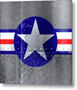 Air Force Logo On Riveted Steel Plane Fuselage Metal Print
