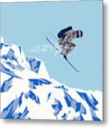 Airborn Skier Flying Down The Ski Slopes Metal Print