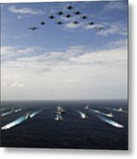 Aircraft Fly Over A Group Of U.s Metal Print