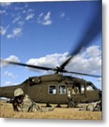 Airmen Provide Security In Front Metal Print