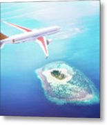 Airplane Flying Over Maldives Islands On Indian Ocean. Travel Metal Print